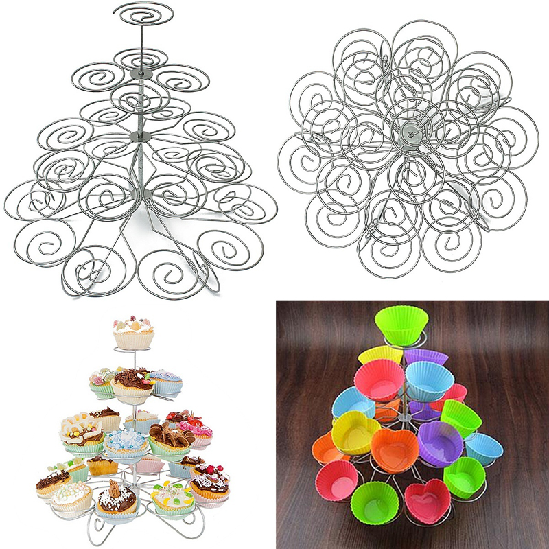 1 piece Cupcake Stand cake Holder Birthday Wedding Party Display 4 tier cake stand 23 Cups S3(China (Mainland))