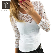 Kaywide New Spring Fashion lace patchwork t shirt women O neck white bodycon Tee tops Long Sleeve shirt Summer tshirts female(China (Mainland))