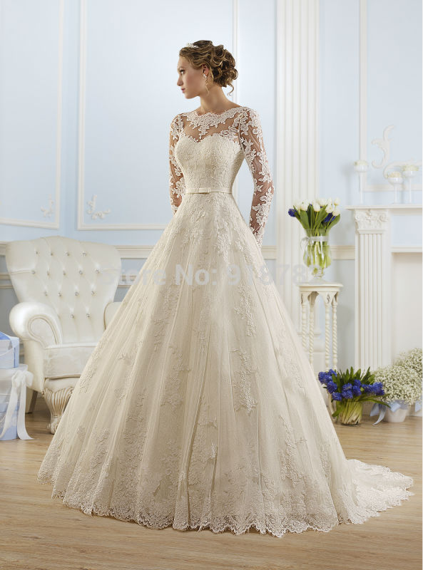 Vestido De Noiva 2016 Ball Gown Long Sleeves Appliques See Through Wedding Dresses Wedding Gown Bridal