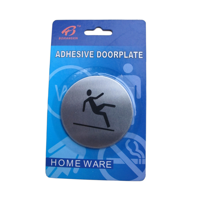 Free shipping Wall Door 430 stainless steel guide signs non-slip Sign x 10Pcs(China (Mainland))