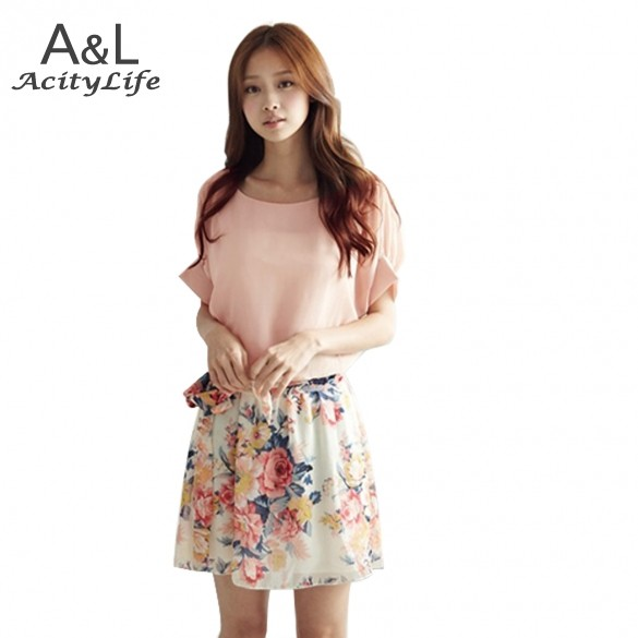 Promotion! New Dress Summer Ladies Chiffon Dress Women's Short Sleeve Flower Mini Dress White/Pink Z 29(China (Mainland))