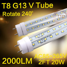 LED T8 G13 tube 20w 600mm 2000lm 110v 220v 85-265v Transparent Clear cover milky cover free shipping 2ft white SMD2835(China (Mainland))