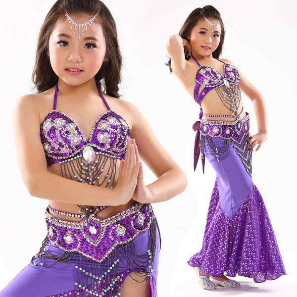 Girls Children's Belly Dance Costume Suits Sequin Glass Beaded Fringe Mardi Gras Set Wear #1111(China (Mainland))