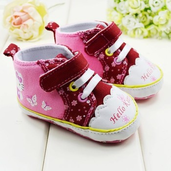 Top Quality New 2013 36pairs/batch Hello Kitty Shoes with T-tied &animal print decration Toddler Shoes,cotton fabric girls shoes