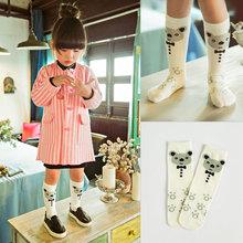 Free Shipping 0-6 Years Printed 3D Bear Tie Toddler Long Girls Knee High Socks Kids Tube Cotton Cute Children Boys Socks Cartoon