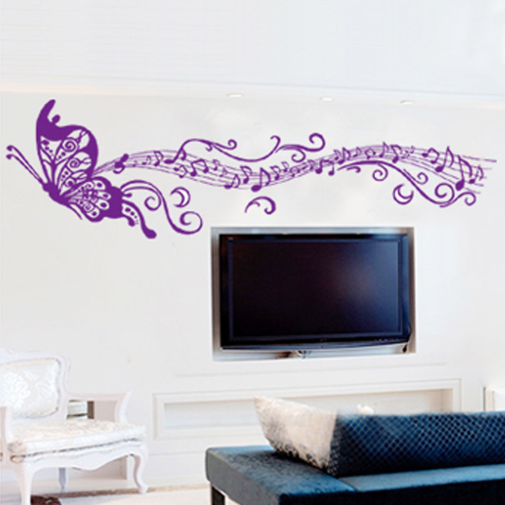 Butterfly Romantic Musical Notes Simple Purple DIY Wall Stickers Wallpaper Art Home Decor Mural Room Decal