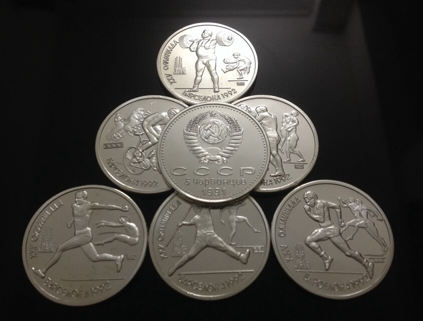 unbeatable price free shipping wholesale 6 pcs/lot Replica Russian 1 Ruble 1992 Proof Coin Set Barcelona Olympic coin set(China (Mainland))