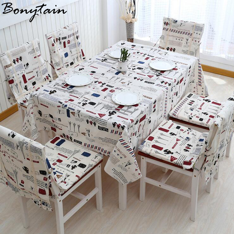 Europe Romantic Paris Cotton Flax Tablecloth Chair Cover Dustproof Tea Table Cloth Cover Family Dinning Room Party Home Decor(China (Mainland))