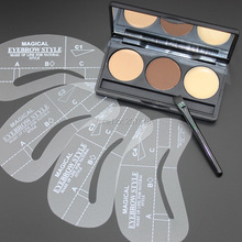 NEW 3 Color Eyebrow Shaping Powder Palette 4 Stencils Brow Class Eyebrow Wax Makeup Kit Free Shipping(China (Mainland))