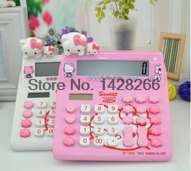 Hello Kitty Cute Calculator Office Electronic Calculating Dual Solar Battery Power Powered Desktop Calculadora Student Favorite<br><br>Aliexpress