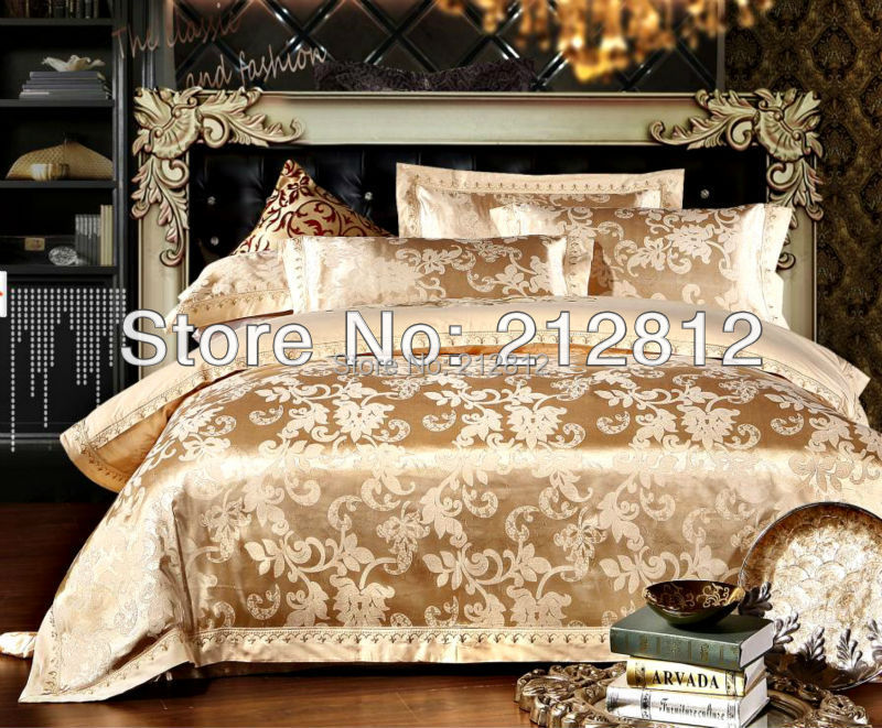 2015 new fashion home textile 4 pcs bedding Luxury silk Floral Jacquard bedding set bedspreads quilt cover/ bed sheet king queen(China (Mainland))
