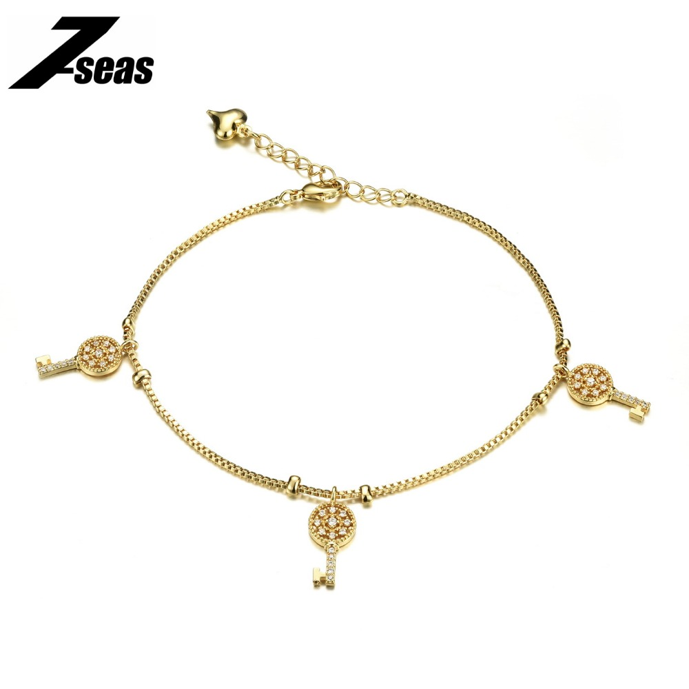 Fashion 18K Gold Plated Key Design Anklet Foot Bracelet for Women Barefoot Beach Jewelry For Woman pulseras tobilleras,JM739(China (Mainland))