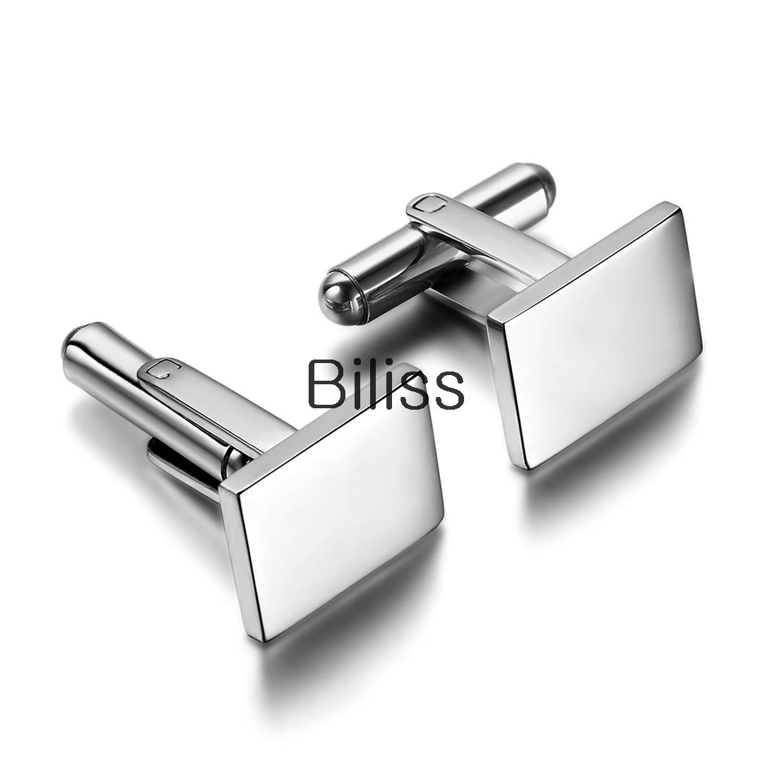 New Arrivals 2pcs of Polished Stainless Steel Men Cuff Link Cufflinks white Square Shirt Wedding Jewelry (with Gift Bag)(China (Mainland))