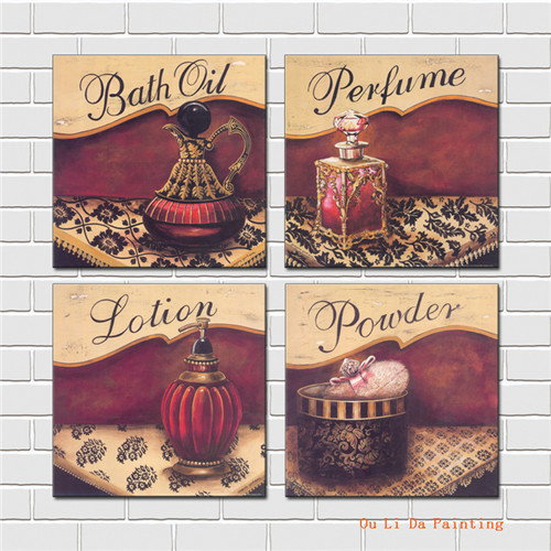 free shipping red perfume bottles canvas prints oil painting on canvas home Store wall art decoration picture(China (Mainland))