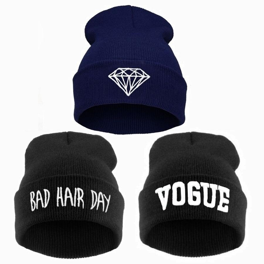 Зима плохой день волос шапочка женщины мужчины алмазный шапочки моде шлема, 2015 трикотажные лыжный skullies капот крючком casquette, Gorros манта-де-лана