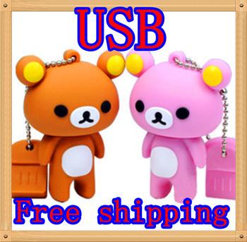 The real mobile storage disk flash drive USB flash drive Free Shipping Wholesale cartoon Winnie cute shape 16GB/32GB of