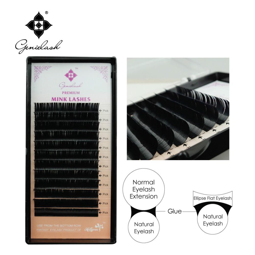 Genie 6pcs/lot Ellipse Flat False Eyelash Extensions Soft 0.15mm Flat Roots 0.07 Thin Tip False Eyelash(China (Mainland))