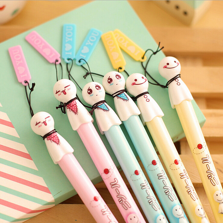 New Fashion & Cute Smile Sunny Doll Style Ballpoint Pens,Office and School Pen for Kids Children Students and Office Hot Sale(China (Mainland))