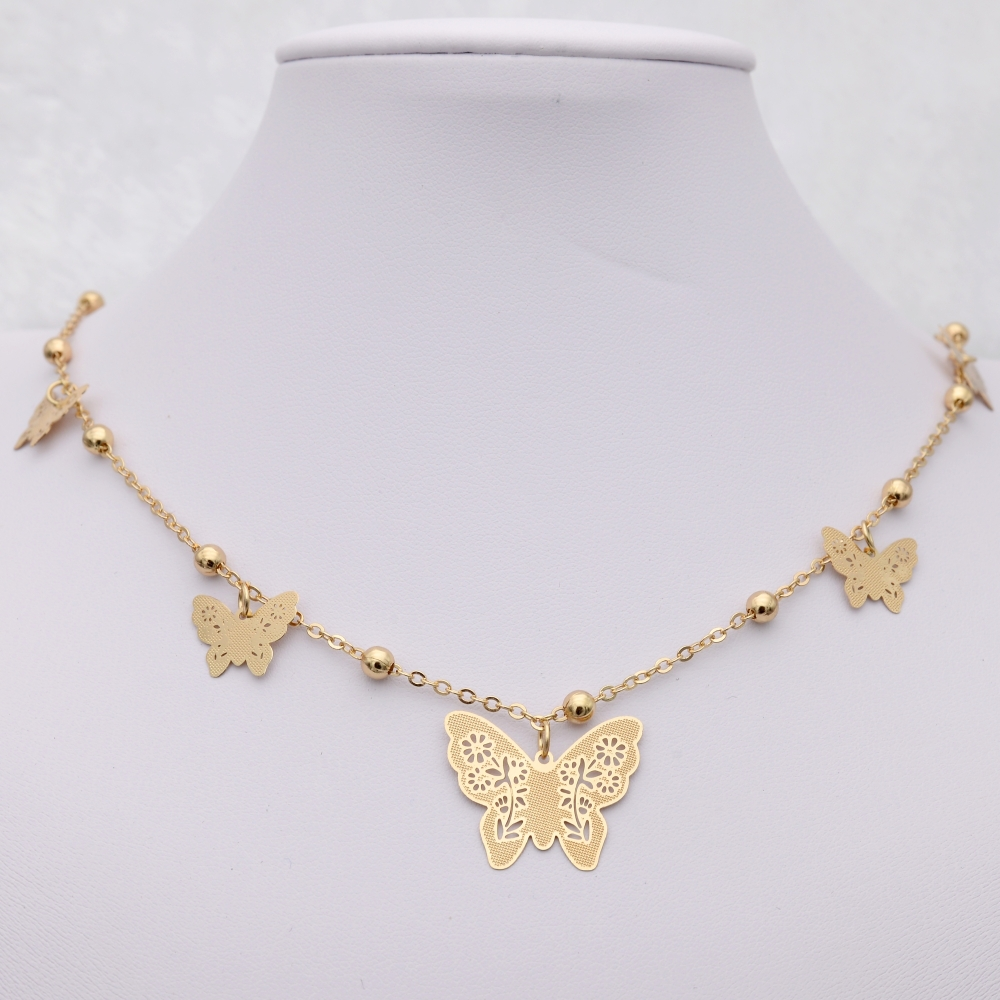8 Styles 18K Gold Plated Chain Neckalce Trendy Choker Necklace for Women Gift Round Rose Butterfly Palm Heart Necklace Wholesale(China (Mainland))