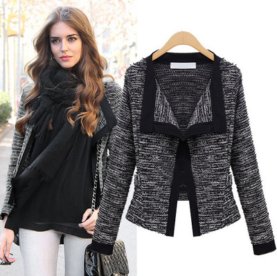 Women coat Autumn winter fashion Womens Jacket Quality Linen Ladies Knitted Cardigans Sweater For Winter(China (Mainland))