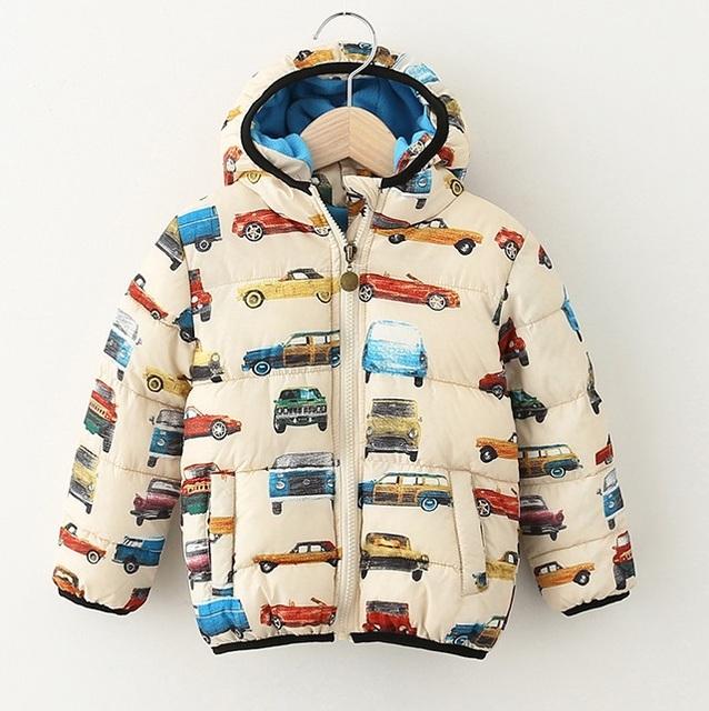 Мальчики зима куртки толстый хлопок закрытый воротник пальто с автомобили знаки верхняя одежда , дети 2 - 8 yeas