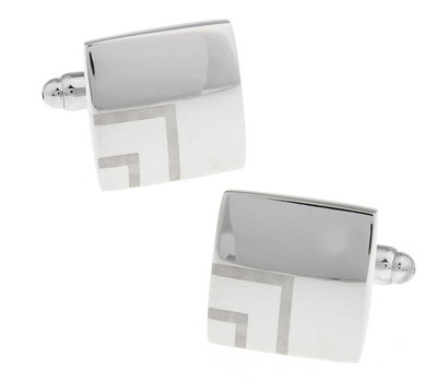 1 Pair Retail Men's Cufflinks Silver Color Brass Fashion Laser Square Design(China (Mainland))