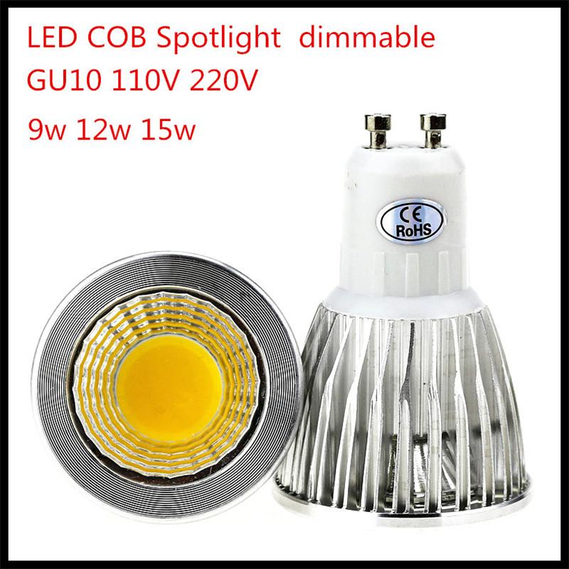 1X Super Bright GU10 MR16 Dimmable LED Lamp Spotlight Bulbs AC110V 220V 9W 12W 15W GU10 COB Free shipping(China (Mainland))