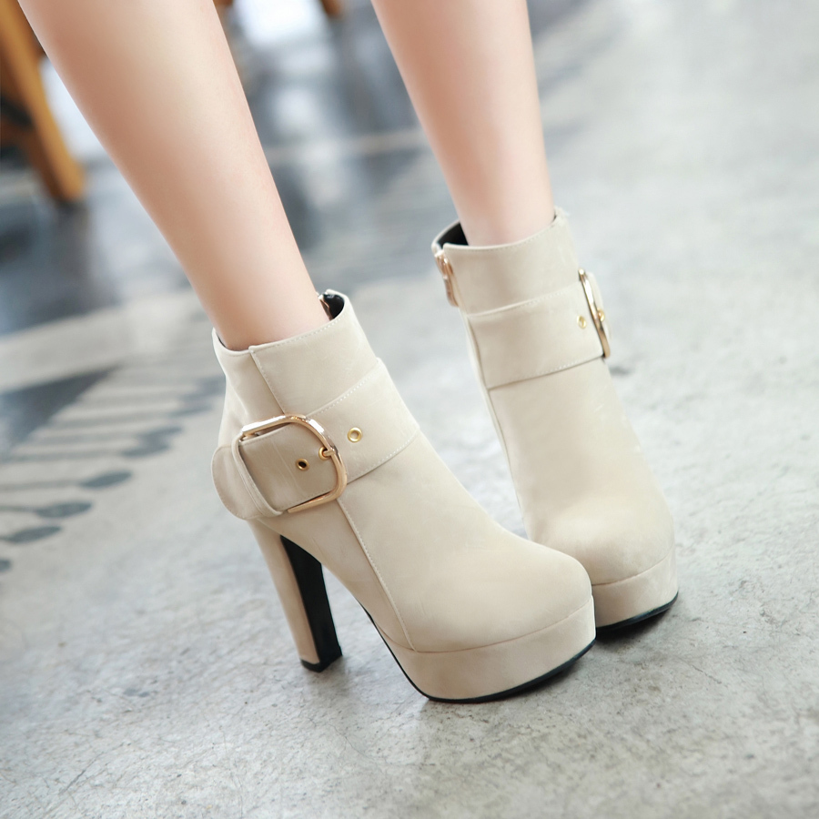 women high heel half short ankle boots martin autumn winter botas fashion buckle footwear boot heels shoes size 35-43 603-1