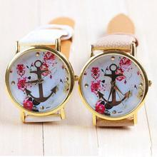 2016 Hot Sale Women's Fashion Leather Floral Printed Anchor Quartz Dress Wrist Watches Good-looking JUN 2