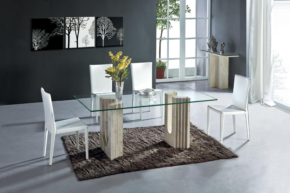 White Travertine Dining Table Set Luxury High Quality Natural Stone Marble Di