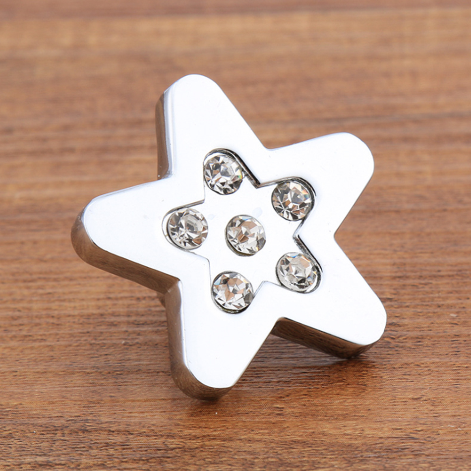 Star Shape K9 crystal with point drill diamond furniture pulls chest  knobs chrome finished almirah door handles<br><br>Aliexpress