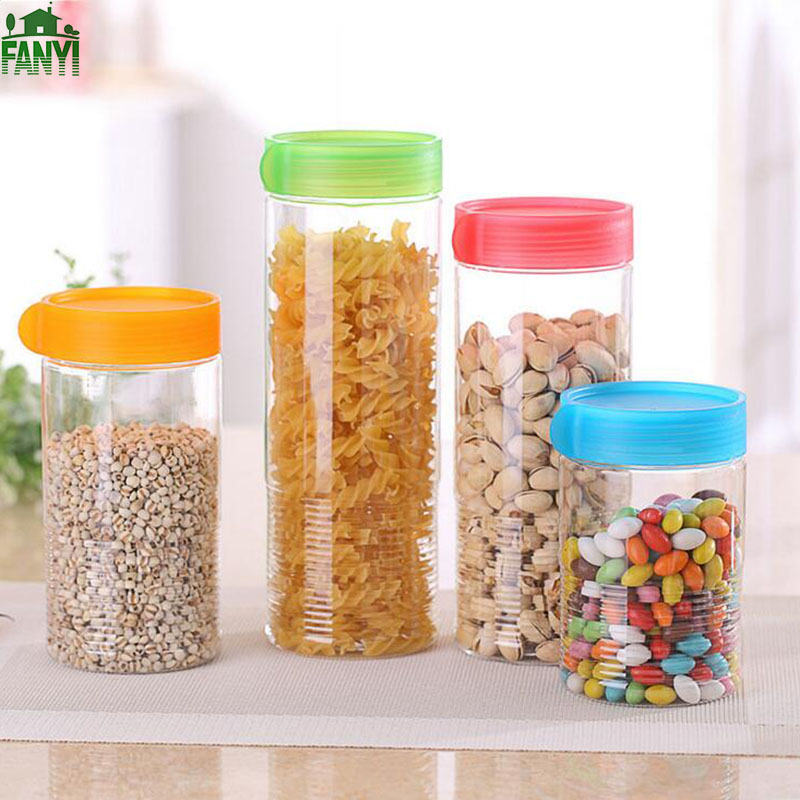 FANYI 4 PCs Colorful Sealed Jars Plastic Transparent Food Storage Box Large Capacity Kitchen Tools for free shipping(China (Mainland))