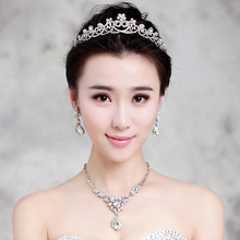 Elegant pearl jewelry sets crystal tiara+necklace+earring rhinestone necklaces bridal ornaments wedding party accessories zhenyu(China (Mainland))