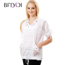 BFDADI Женщин выдалбливают Шить Летом Майка Мода Свободно нарисовать веревки подол Топы Леди Белая футболка Плюс размер A-151(China (Mainland))