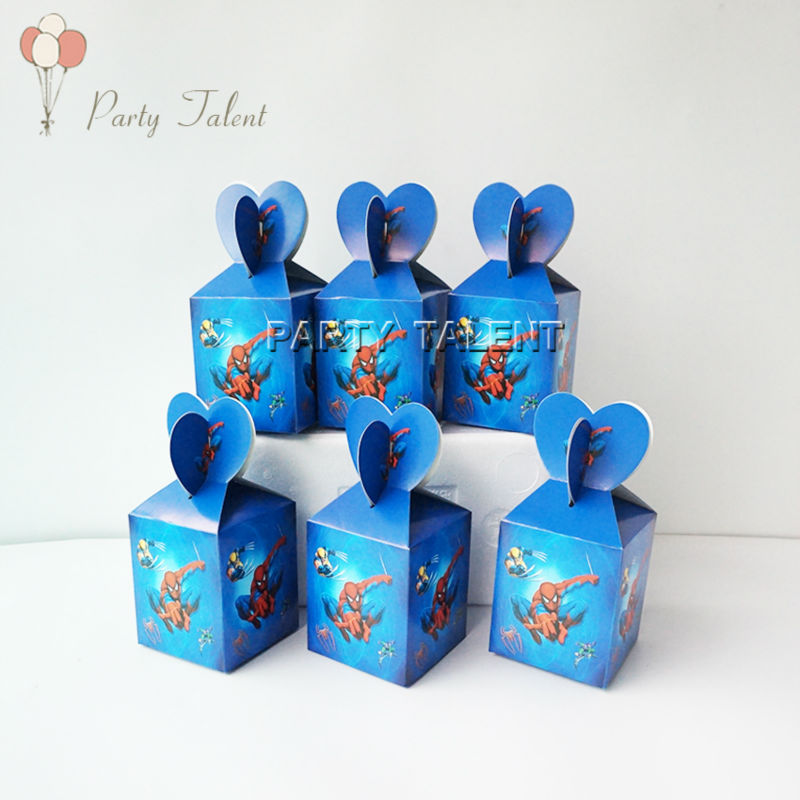 12pcs/lot Candy Cake Box for Kids Spiderman Theme Birthday Party Baby Shower Party Decoration Party Favor Supplies(China (Mainland))