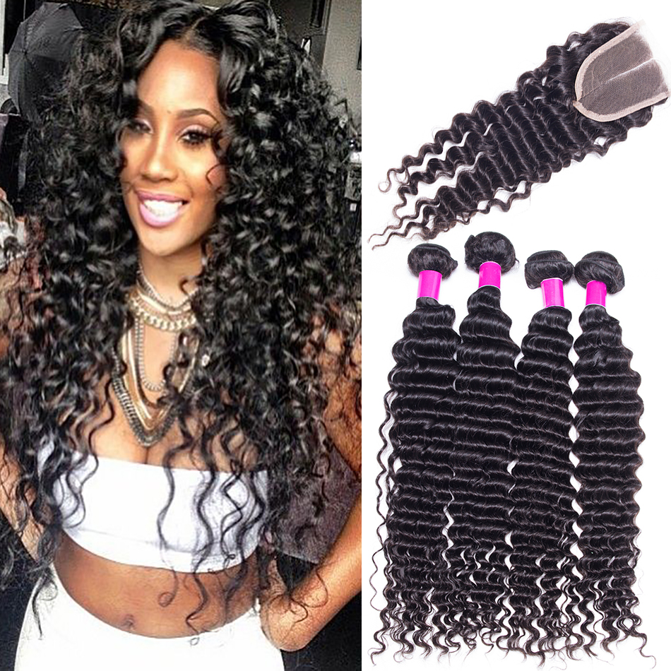 Rosa Hair Peruvian Deep Wave With Closure Grade 7A Unprocessed Virgin Hair With Closure 3 Bundles With Closure Hot Beauty<br><br>Aliexpress