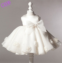 2016 New Summer Wedding Party Flowers Bow Dress For Girls Princess Baby Kids Dresses Girl Children Clothing Formal Baby Clothes