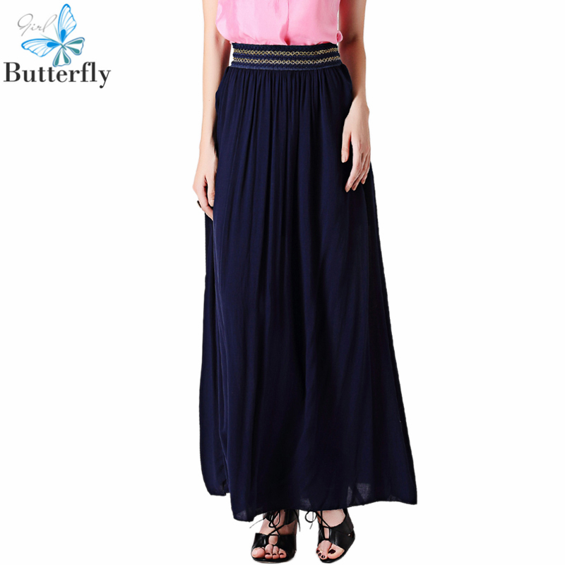 2015 summer casual skirts plus size blue solid