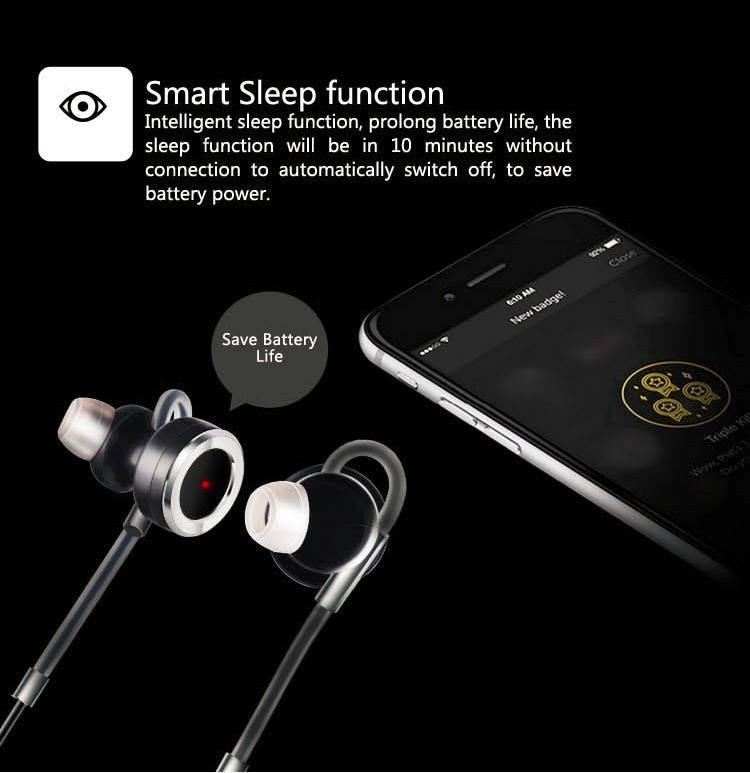 Sports Bluetooth Headset Wireless Handsfree Earphone Noise Cancelling Voice Command Earphones with Microphone HD Stereo Music