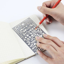 Vintage Portable Stainless Steel Stencils Hollow Ruler Planner Travel Diary Notebook DIY Tool /filofax Template Gift Stationery(China (Mainland))