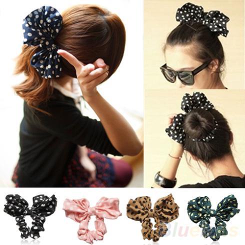 Гаджет  Lovely Big Rabbit Ear Bow Headband Headwear Hair Ribbons Ponytail Holder Hair Tie Band Korean Style Women Accessories None Одежда и аксессуары