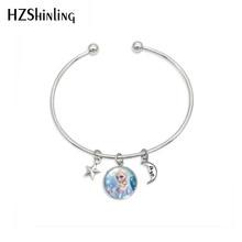 New Arrival moda Fairy Tale piękny księżniczka wisiorek bransoletka księżniczka Elsa królowa śniegu amulet ze stali nierdzewnej bransoletki biżuteria(China)