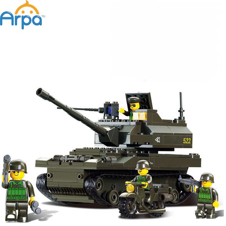 Arpa Lego Compatible Army Troops K-9 Tank Howitzer Children Building Blocks with Minifigures Soldier Toys 258pcs(China (Mainland))