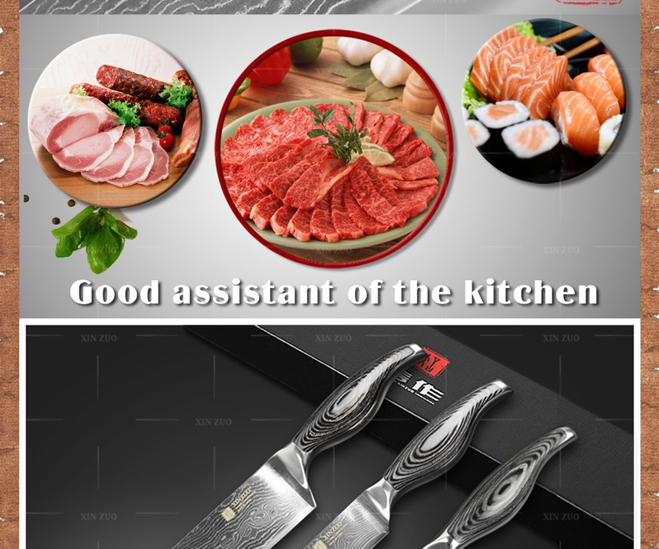 Buy 3 pcs chef knife set Japanese 73 layer VG10 Damascus steel kitchen knife set paring chef cleaver knife wood handle free shipping cheap