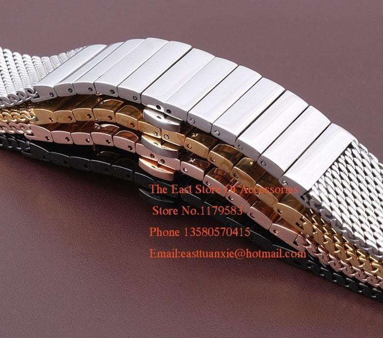 Новое прибытие polished 18 мм 20 мм 22 мм 24 мм Черный Серебристый Rosegold Золото Нержавеющая сталь Ремешок Для Часов Сетка ремень браслеты Часы группа
