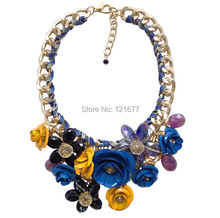Hot Sale Big Pendants Transparent Resin Crystal Red Blue Green Pink Flower Vintage Choker Statement Necklace