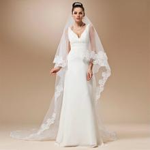 Voile Mariage Cheap Long Lace Edge Wedding Veil Ivory White Cathedral Wedding Veil Velos de Novia Wedding Accessories(China (Mainland))