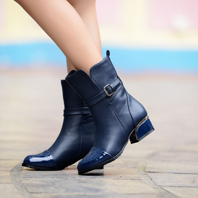 fashion motorcycle boots low heels shoes for half