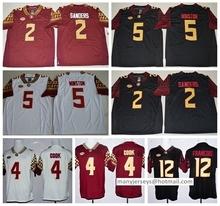 Florida State Seminoles Jerseys FSU College 12 Deondre Francois Jersey 2 Deion Sanders 4 Dalvin Cook Black Red White Team Color(China (Mainland))