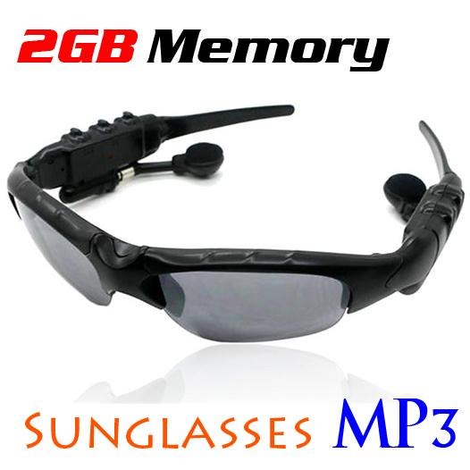 2GB UV Protection Hands-Free Sunglasses Headset Headphone Sports MP3 Player (Black)(China (Mainland))
